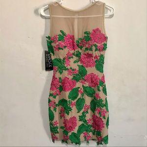 BASIX Black Label Pink/Green/Nude Mini Dress